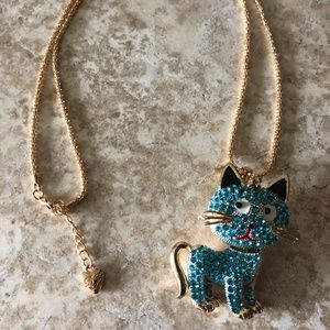 [NWOT] Betsey Johnson Blue Rhinestone Cat Necklace